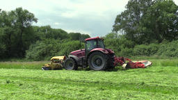 Grass Cutting by Farm Machinery Tractor Footage