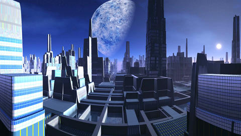 City of Aliens and a Huge Moon Animation