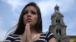 Worried Christian Teen Girl Praying At Church Live Action