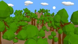 Lowpoly tree complete scene 3D Model