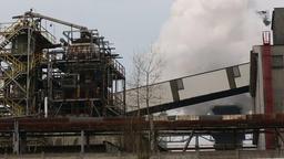 Smoking power plant, human health calamity serious situation, quick smoke Footage