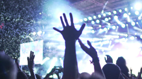 Crowd putting hands up in air at music concert, enjoying performance, slow-mo Footage