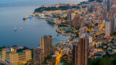 Seaside city aerial view, real estate at luxury resort, day-to-night time-lapse Footage
