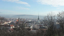 View of the city of Brno, the white tower of St. James Church, svateho Jakuba St Footage