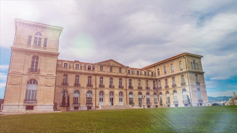 Building of medical faculty at Aix-Marseille University, green lawn, time lapse Footage