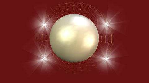 Elegant video background, pearl sphere with wireframe aura rotating and four fly Animation