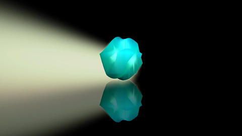 Uneven turquoise object with mirror image rotating on…, Stock Animation