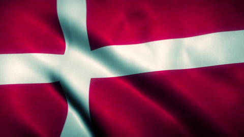 Denmark Flag Blowing in the Wind Animation