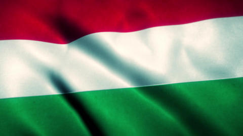 Hungary Flag Blowing in the Wind Animation