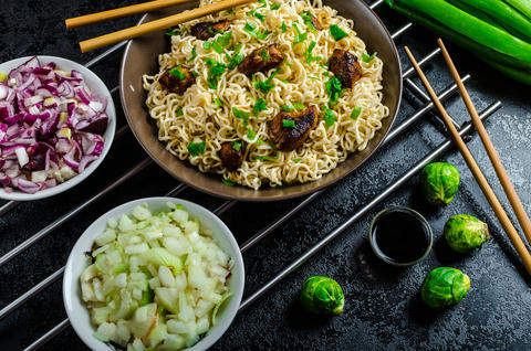 Asian chicken noodles salad Photo