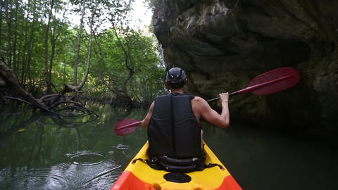 man sails on canoe in river against mangroves Footage
