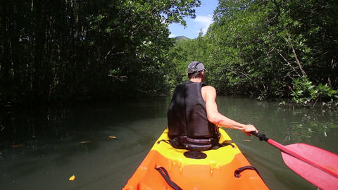 strong elder man rows kayak among mangrove trees Live Action