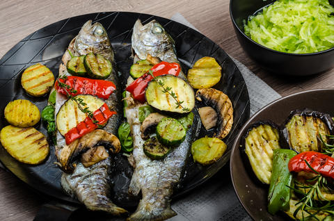 Grilled Trout with Mediterranean vegetables Photo