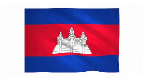 Flag of Cambodia waving on white background Animation