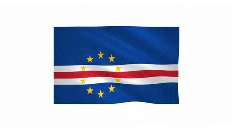 Flag of Cape Verde waving on white background Animation