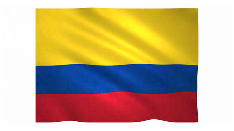 Flag of Colombia waving on white background Animation