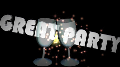 Great party banner, animation with two wine glasses in 3d design, moving inscrip