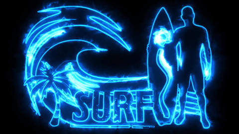 Blue Burning Neon Surf Animation Background Backdrop Animation