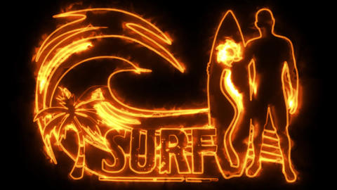 Orange Burning Neon Surf Animation Background Backdrop Animation