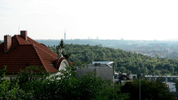 panorama of Prague - forest (trees) - house Footage