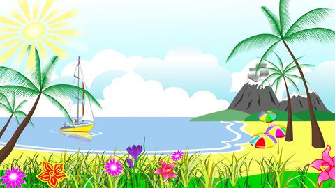Animated children's album (palm beach) CG動画素材