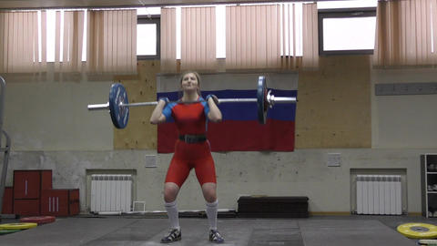 Weightlifting competing girls Footage