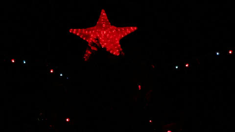The big red star on a Christmas tree Footage