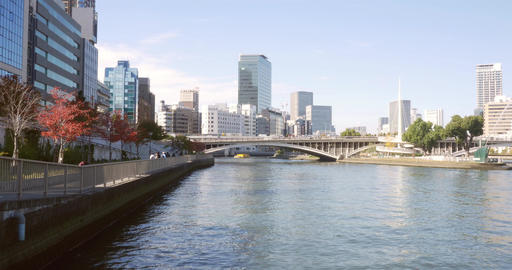 Osaka City Central Business District stock footage