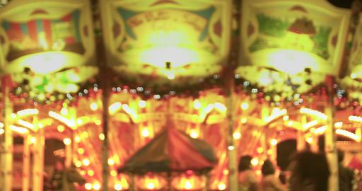 Merry Go Round Lights Up The Night Footage