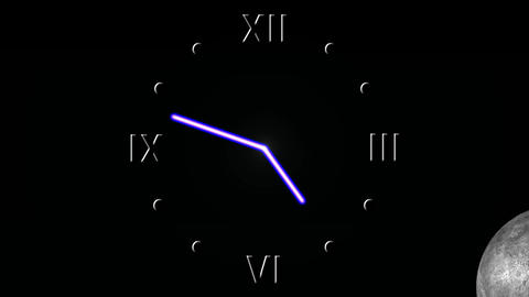 Clock animation - 24 hours with day and night changes Animation