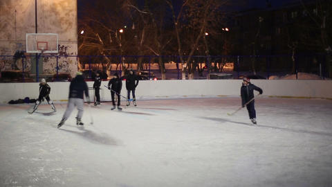 People playing hockey on Footage