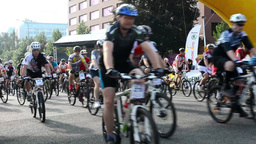 cycling race - cyclist - buildings Footage