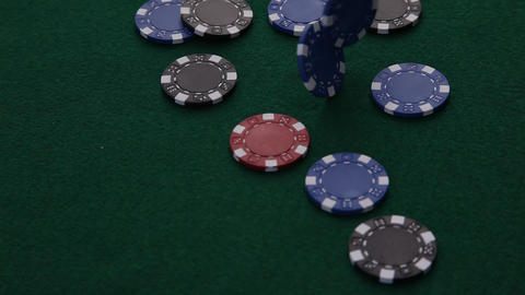 Poker Chips dropping Live Action