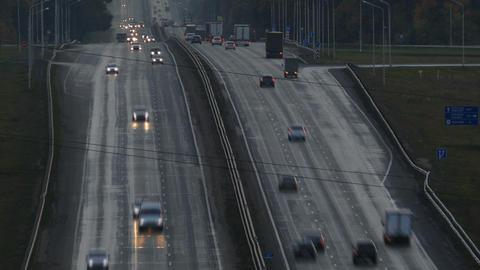 cars on highway road in dusk, timelapse Footage
