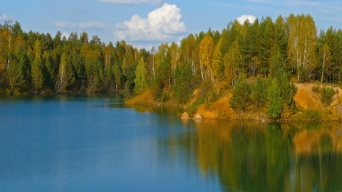 aututmn lake landscape in Ural mountains, zoom in Footage