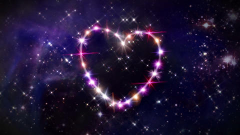 heart pink star in space camera rotation Animation