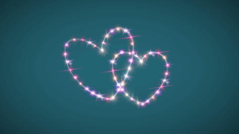 hearts pink star green background Animation