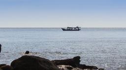 People Swim in Sea by Rock Beach Boat Drifts past Footage