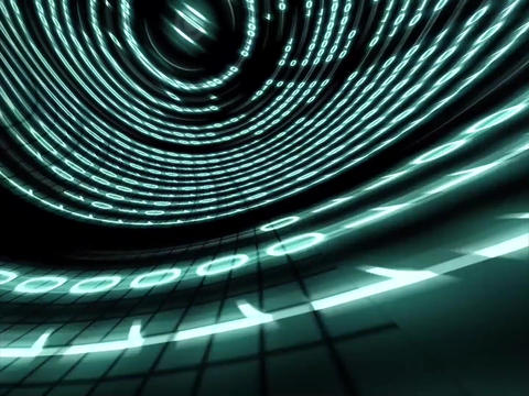 Binary tunnel.Internet and technology concept Animation