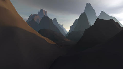 Landscape.Flying over high mountain Animation