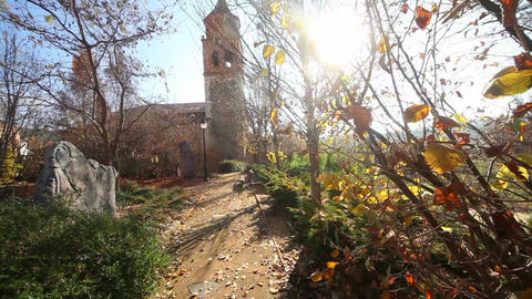 Hermitage, chapel or church.Village and nature landscape Archivo