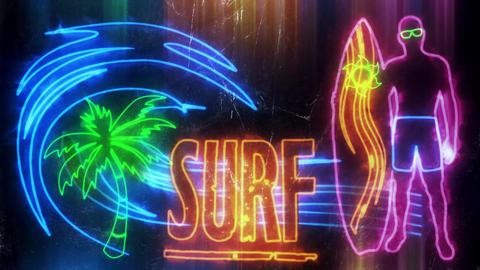Colorful Neon Surf Animation Background Backdrop CG動画素材