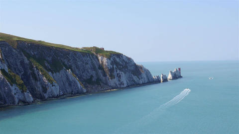 The Needles rock formation on the Isle Of Wight England UK Europe Footage