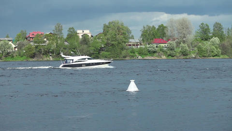 picturesque river landscape with a floating yacht Footage