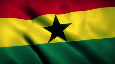 Ghana Flag Blowing in the Wind Animation