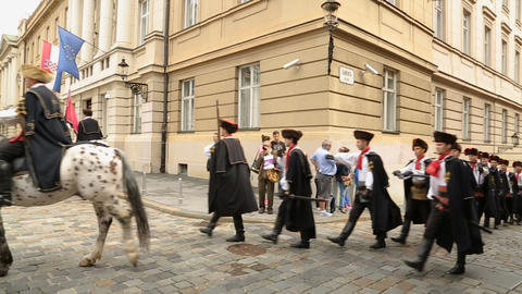 Famous Cravat Regiment marching on the Zagreb streets, guard of honour, Croatia Footage