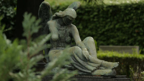 View on beautiful sculpture of sad female angel, statue at Mirogoj cemetery Footage