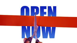 Open now concept with cutting ribbon Footage
