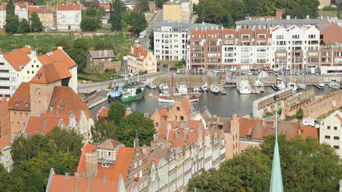 Beautiful aerial cityscape of Gdansk, large Polish city on Baltic coast, travel Footage