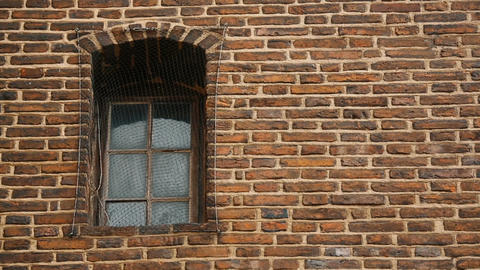 Window covered with metal mesh, ancient brick wall of medieval prison, captivity Footage